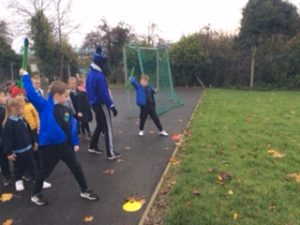 Trying out the javelin during athletics